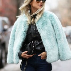 Baby Blue Faux Fur Zara Jacket